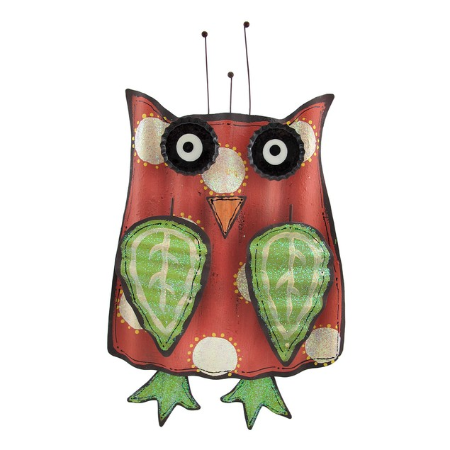 Whimsical Red And Green Wavy Tin Owl Wall Hanging Wall Sculptures