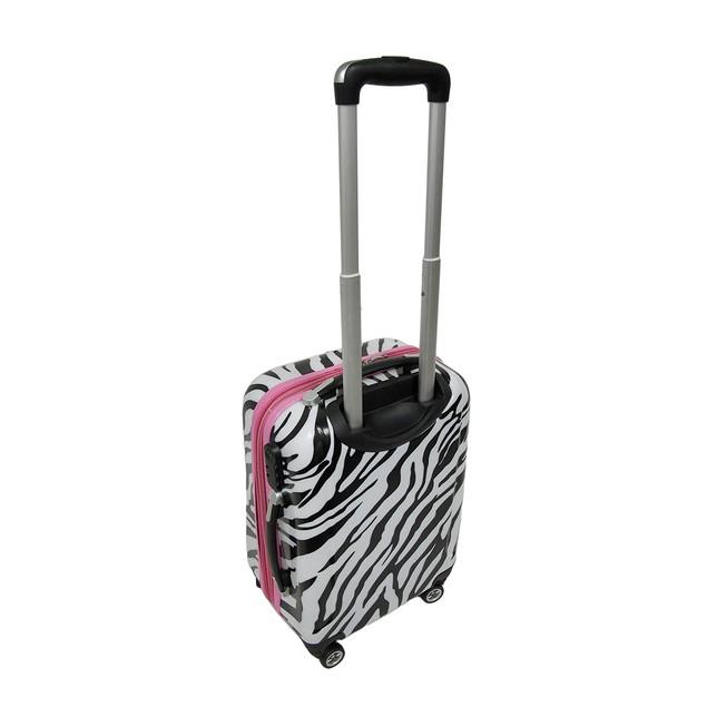 3 Pc. Locking Zebra/Pink Expandable Hard Shell Womens Luggage Sets