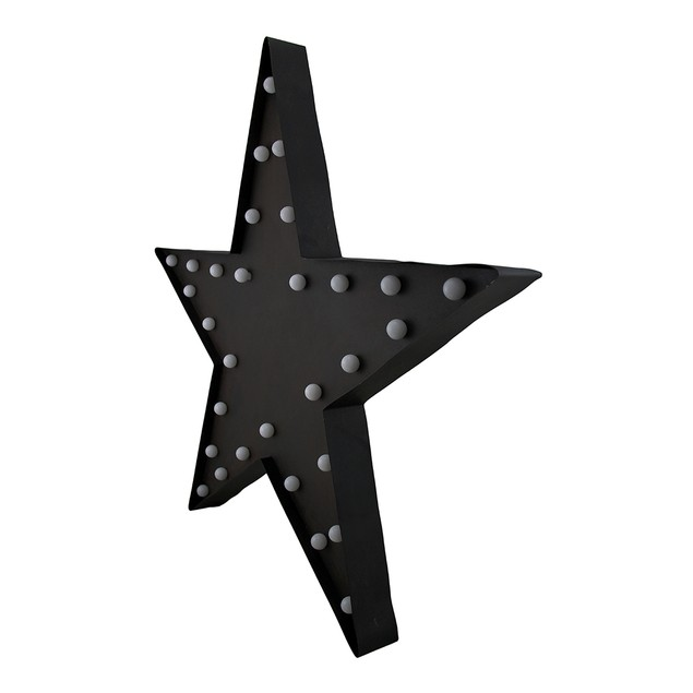 Black Marquee Star Metal Led Wall Sculpture Wall Sculptures