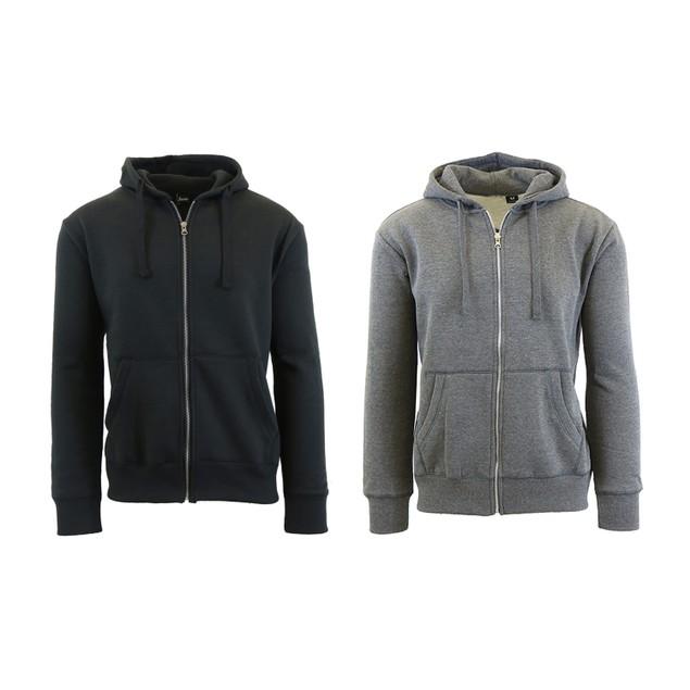 Men's Fleece Zip-Up Hoodie With Thermal Lined Hood (2-Packs)