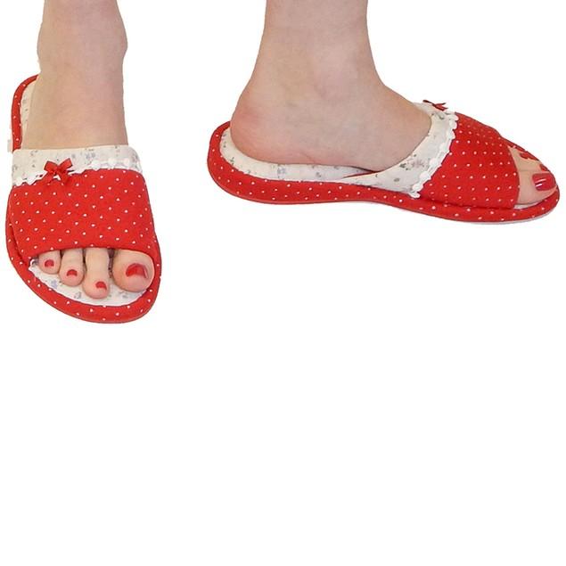 Vecceli Italy Designer Polka Dot Slippers - Red