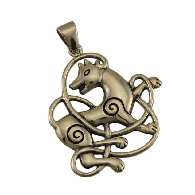 Solid Bronze Celtic Knot Wolf Pendant Individual Pendants