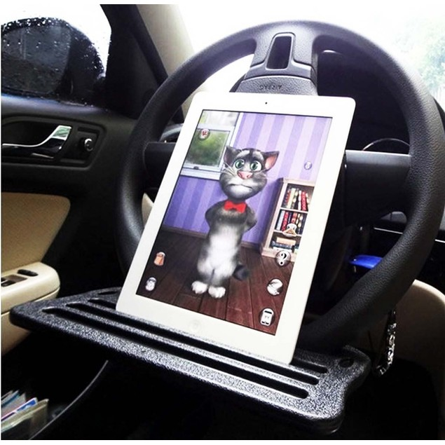 Zone Tech Travel Car Ipad Laptop Eating Steering Wheel Desk Tray Organizer
