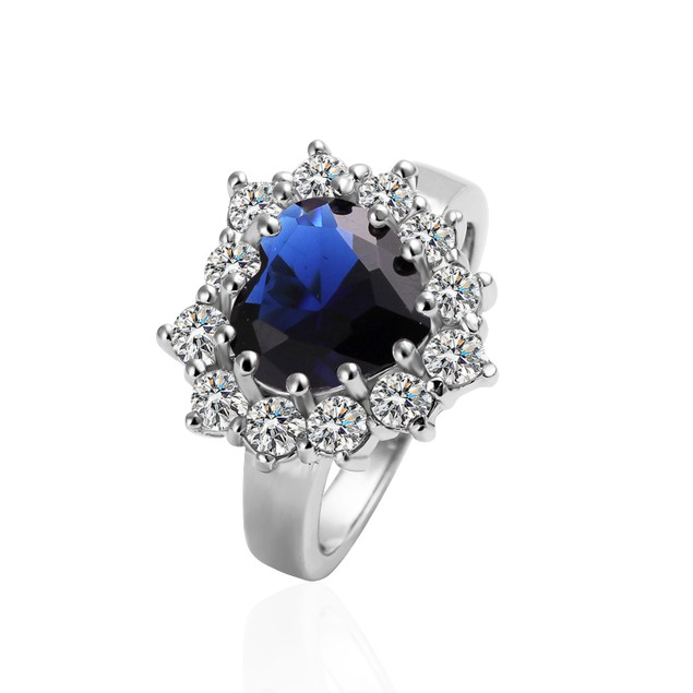 Silvertone Heart Blue Stone Ring