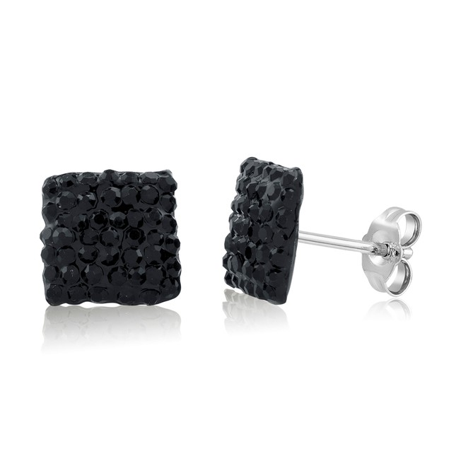 Sterling Silver Sparkling Crystal 10mm Stud Earrings - Square Black