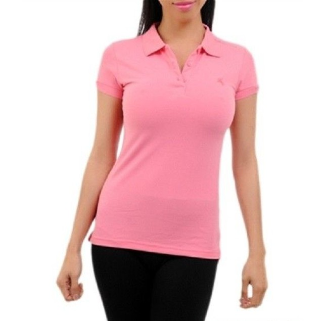 Pink Short Sleeve Juniors Polo Top by C'esttoi New