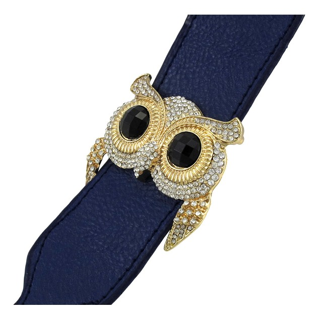 Blue Vinyl Wristband Bracelet w/ Rhinestone Encrusted Goldtone Owl