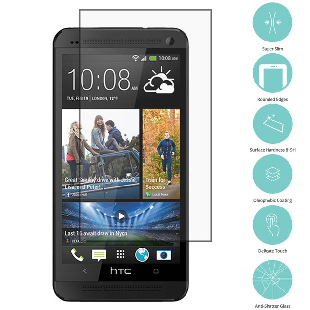 HTC One M7 Tempered Glass Film Screen Protector Clear