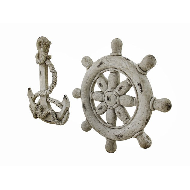 Ship Wheel And Anchor White Finish Nautical Wall Wall Sculptures
