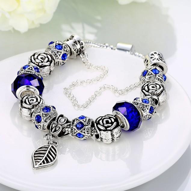 Dark Royal Blue Leaf Branch Designer Inspired Bracelet