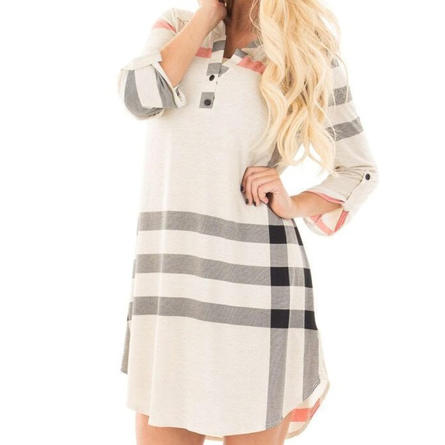 Long Sleeve Plaid Mini Dress
