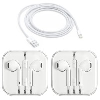 2-Pack Apple Original Earpods Earphones + Apple Original Lightning Cable