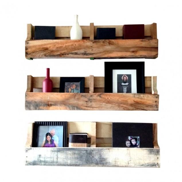 Set of 3 Natural Reclaimed Pallet Shelves