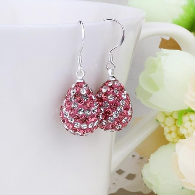 Two Toned Austrian Stone Pear Shaped Drop Earrings -Dark Coral