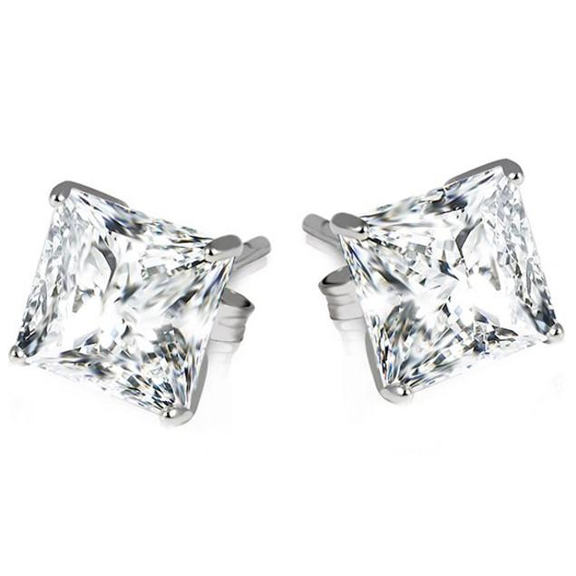 Sterling Silver Princess Cut Earrings