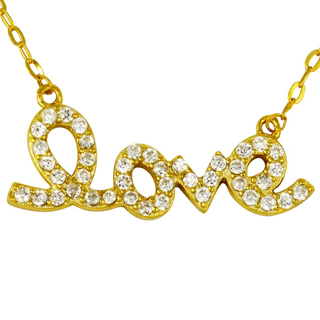 18K Gold Over Sterling Silver Simulated Diamond Script Love Necklace