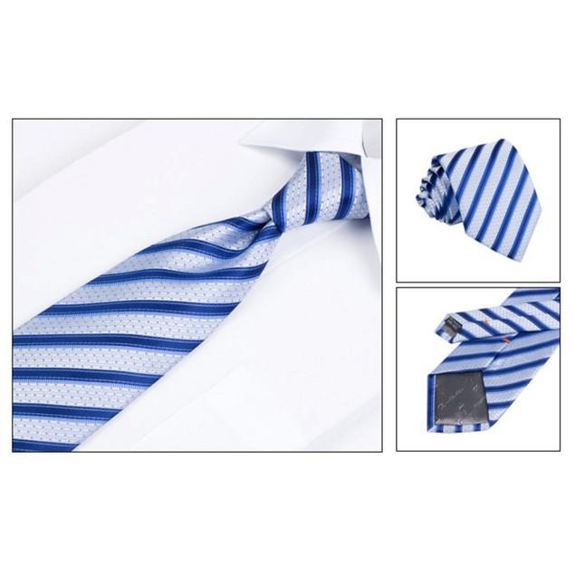Men's Dress Suit Tie Set - Blue Stripe