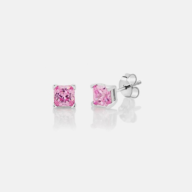 Sterling Silver Stud Earrings - Square Pink Diamond - .40 Carat / 4mm