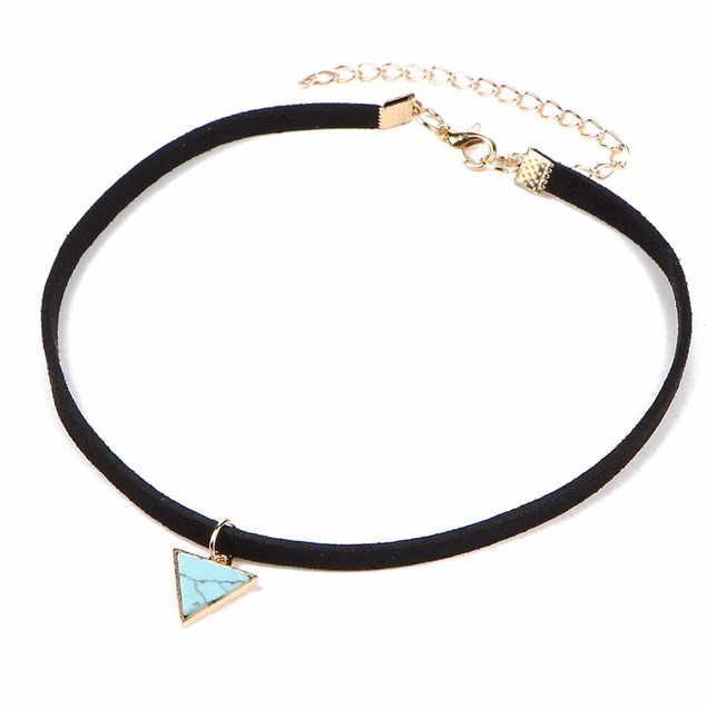 Triangle Choker Necklace - Turquoise