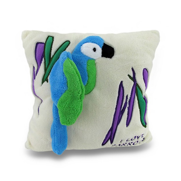 I Love Parrots Ivory Soft Fuzzy 2D Tropical Parrot Throw Pillows