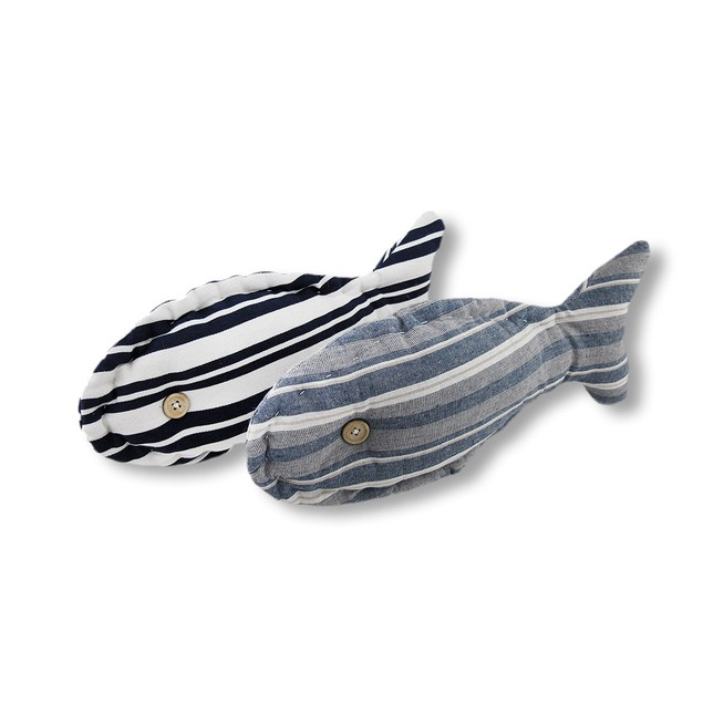 Pair Of 15 In. X 6 In. Striped Fish Shaped Accent Throw Pillows