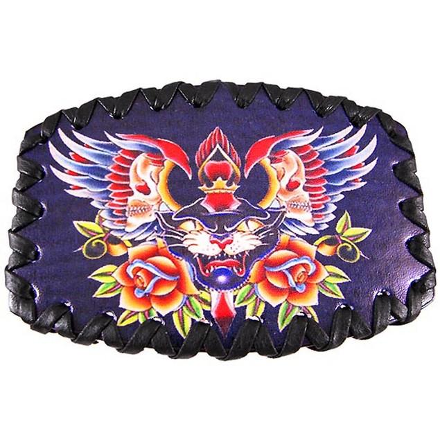 Tattoo Skulls & Black Cat Leather Belt Buckle Mens Belt Buckles