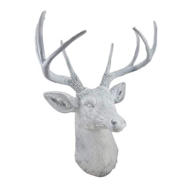 8 Point Buck Deer Head Bust Wall Hanging White Wall Sculptures
