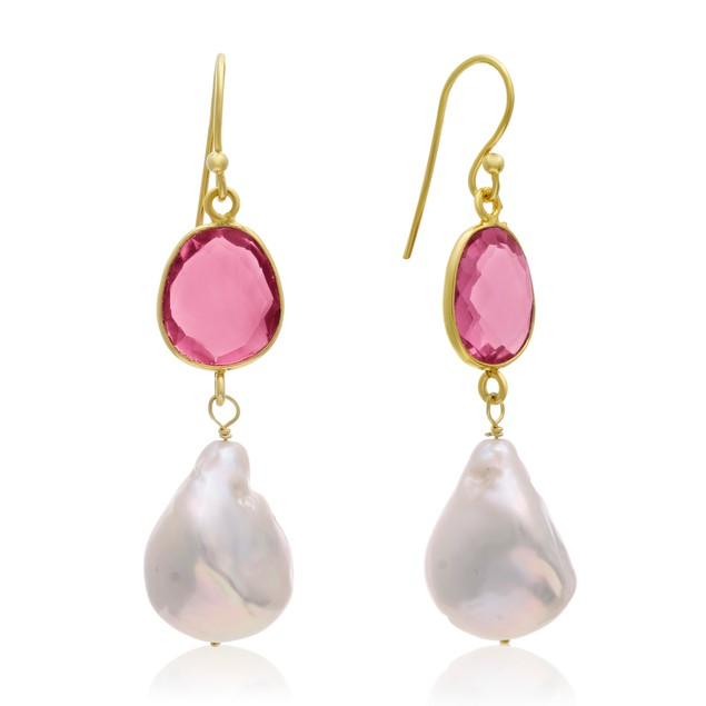 14k Yellow Gold 64ct Raspberry Quartz and Baroque Pearl Dangle Earrings