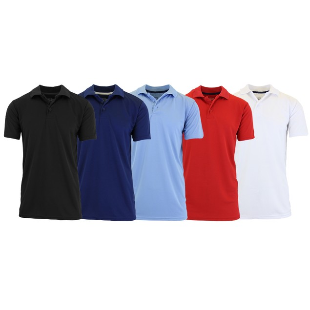 Men's Dry Fit Moisture-Wicking Polo Shirt (5-Pack)