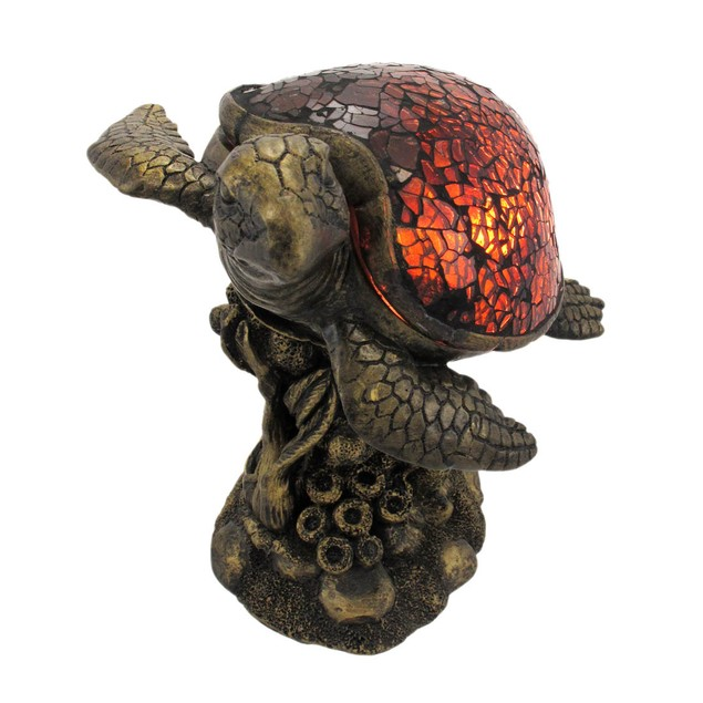Beautiful Swimming Brown Sea Turtle Crackle Glass Accent Lamps