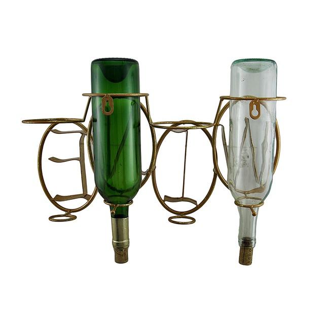 Antique Gold Gilt Finish 4 Bottle Metal Wall Wine Bottle Holders