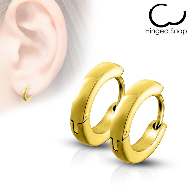 8mm Stainless Steel Huggie Hoop Earrings - 5 Colors