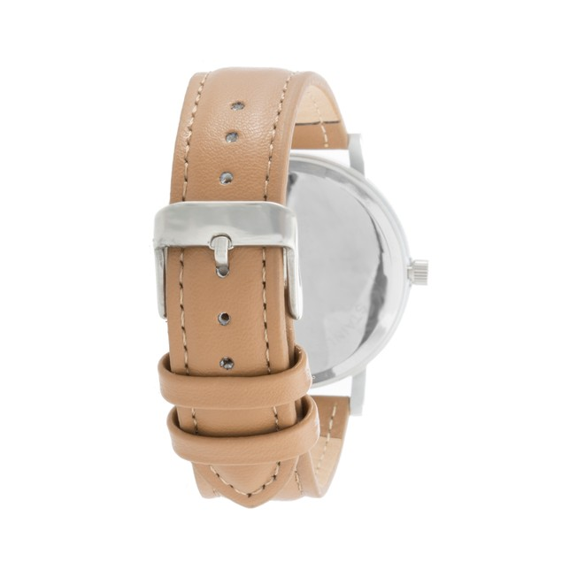 40mm Diamond Accent Watch on Brown Leather Strap