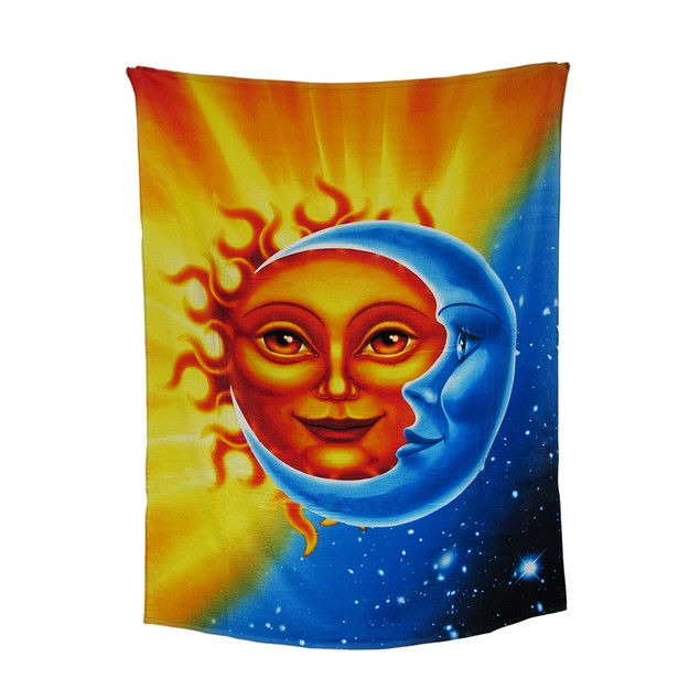 Celestial Sun And Moon Cotton Beach Blanket Towel Beach Towels