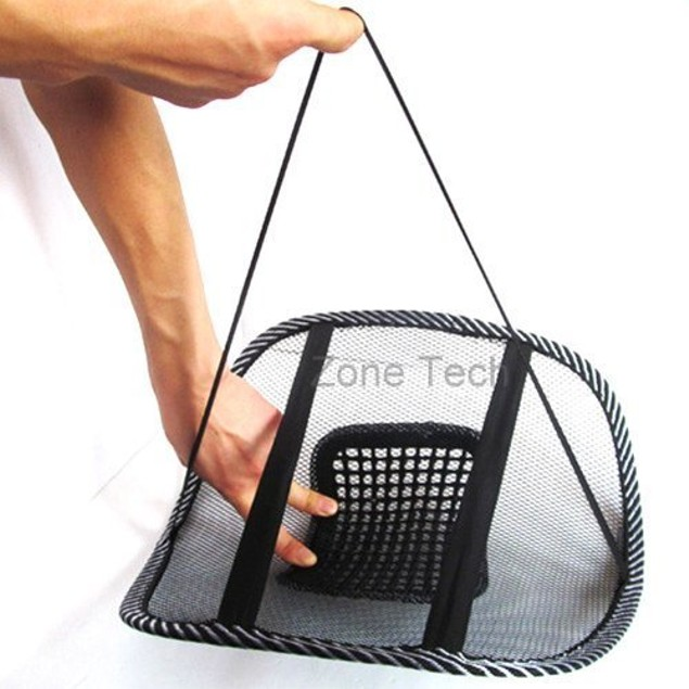 Zone Tech4x Black Mesh Massage Lumbar Back Seat Chair Posture Support