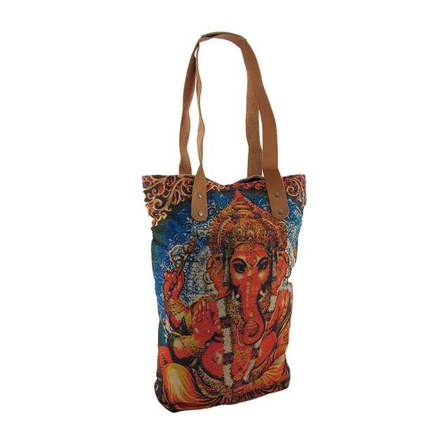 Colorful Cotton Canvas Ganesh Tote Bag W/Bonded Womens Tote Bags