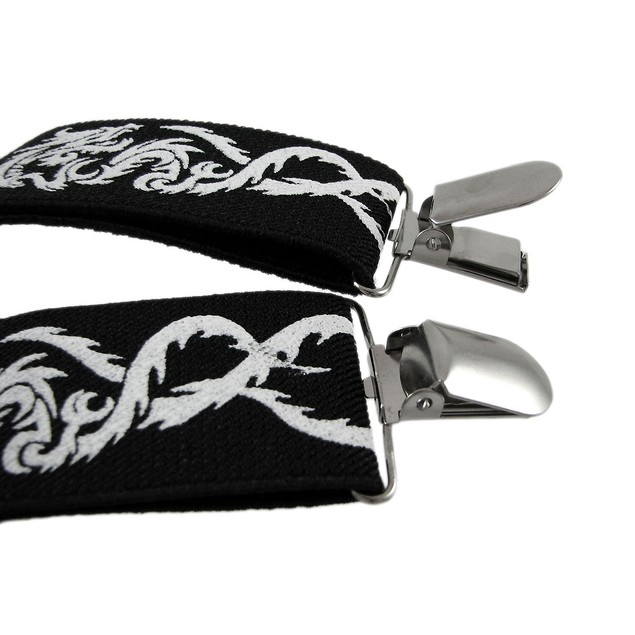 Black / White Tribal Dragon Suspenders Braces Mens Suspenders