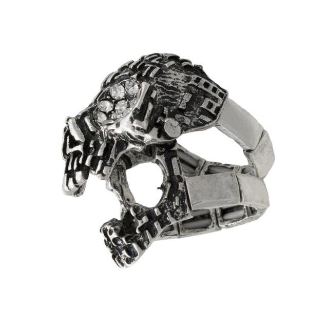 Silvertone Skull Armor Ring With Rhinestone Eyes Rings