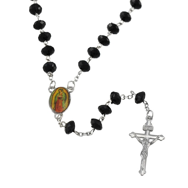Faceted Black Beaded Rosary With Chrome Plated Rosary Beads