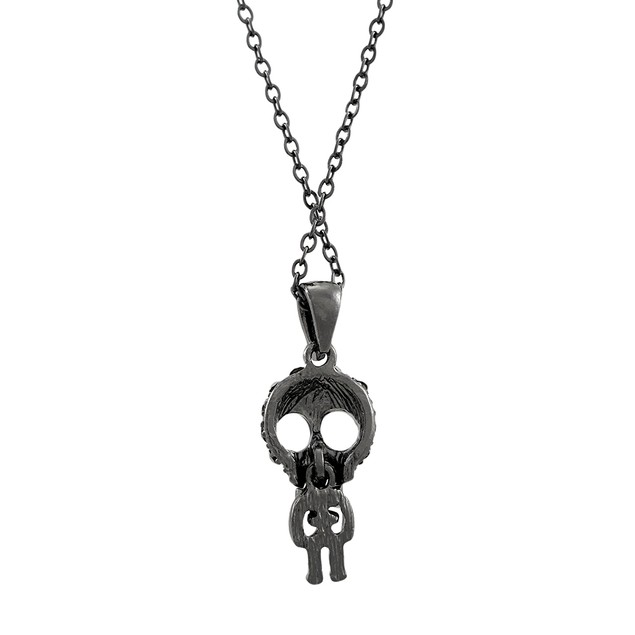 Gunmetal Big Head Skelly Dangling Skeleton Chain Necklaces
