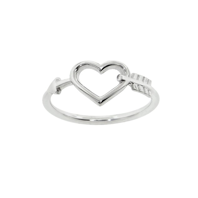 Sterling Silver Heart & Arrow Ring - 2 Colors