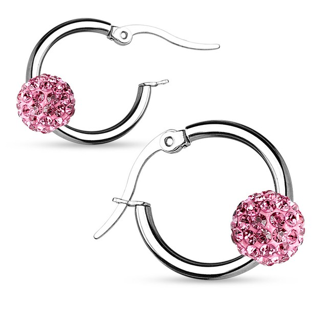 Stainless Steel Shamballa Crystal Ball Hoop Earrings - 6 Colors