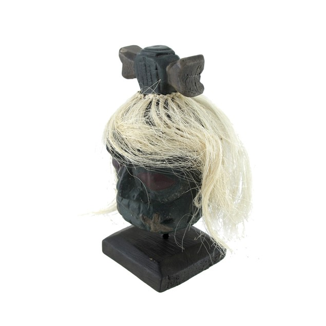 Mounted Shrunken Head With White Hair And Bone Head Sculptures