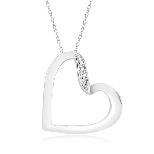 1/10 CTW Diamond Ladies Necklace - Twirled Heart