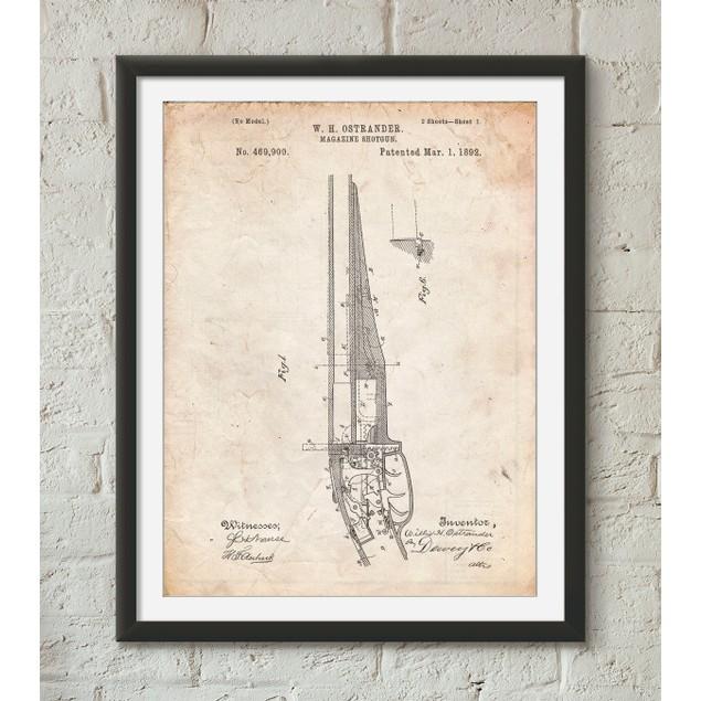 The Ostrander Shotgun Patent Poster