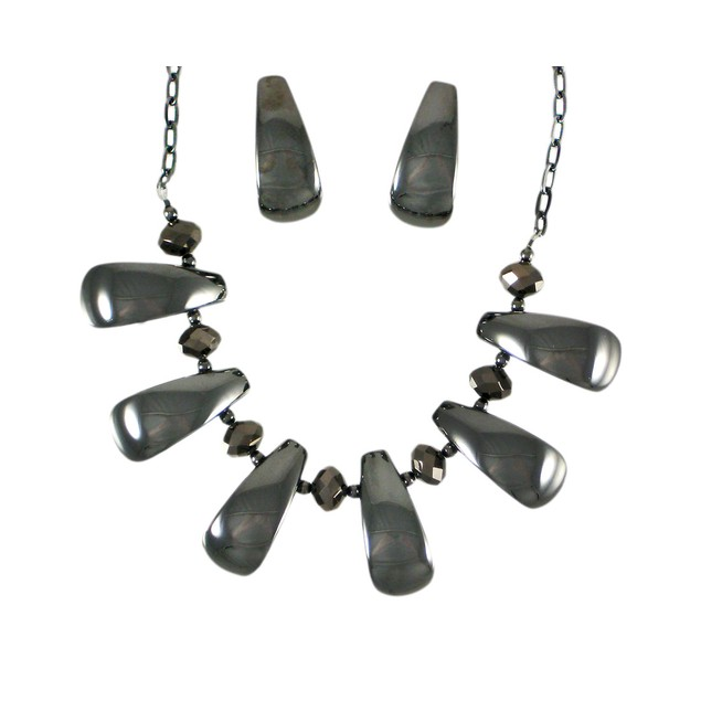 Chunky Hematite Finish Bead Necklace / Earrings Womens Earring And Necklace