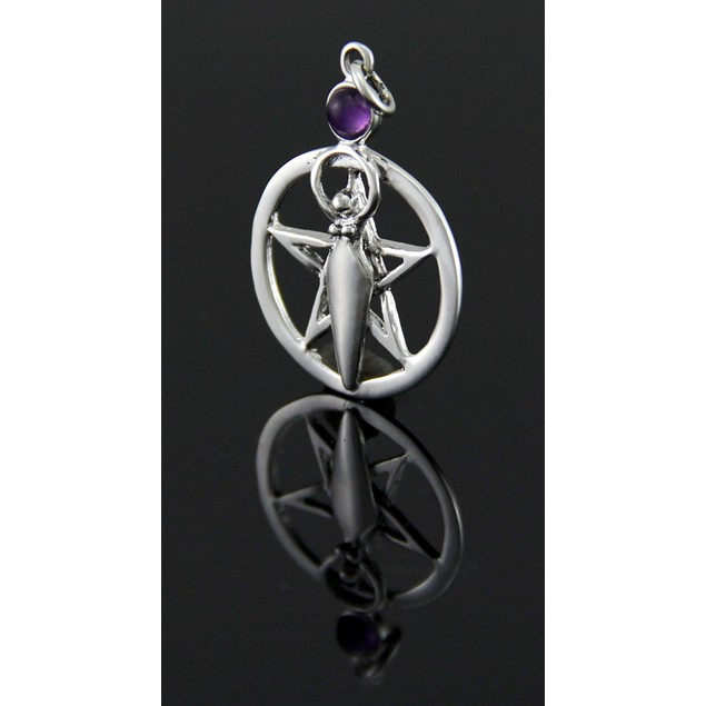 Sterling Silver Pentacle Of The Goddess Pendant W/ Pendants
