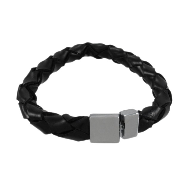 Black Leather Round Braided Bracelet 7 Inch Womens Leather Bracelets