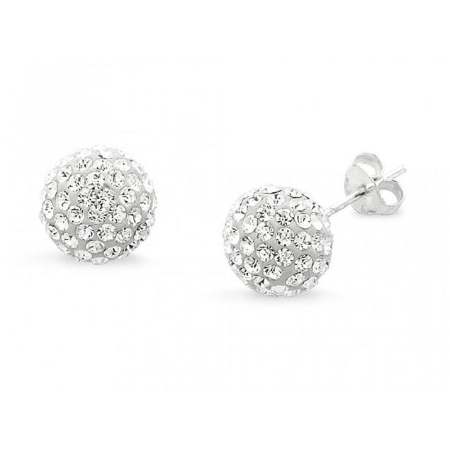 Sterling Silver Crystal Ball Earrings