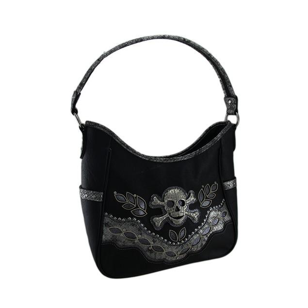 Rhinestone Skull Sequin Trim Oversize Concealed Womens Shoulder Handbags